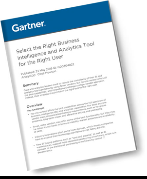 Gartner Report - The Right BI and Analytics Tool for the Right User